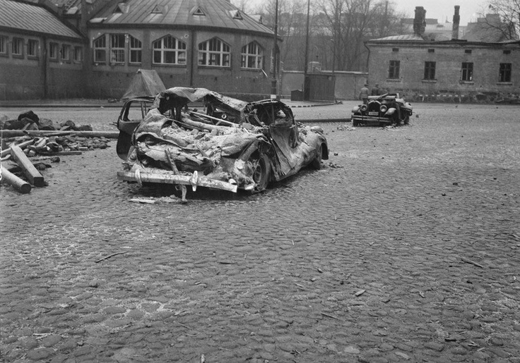 Car destroyed in a bombing of Helsinki during wartime 1939-1945.