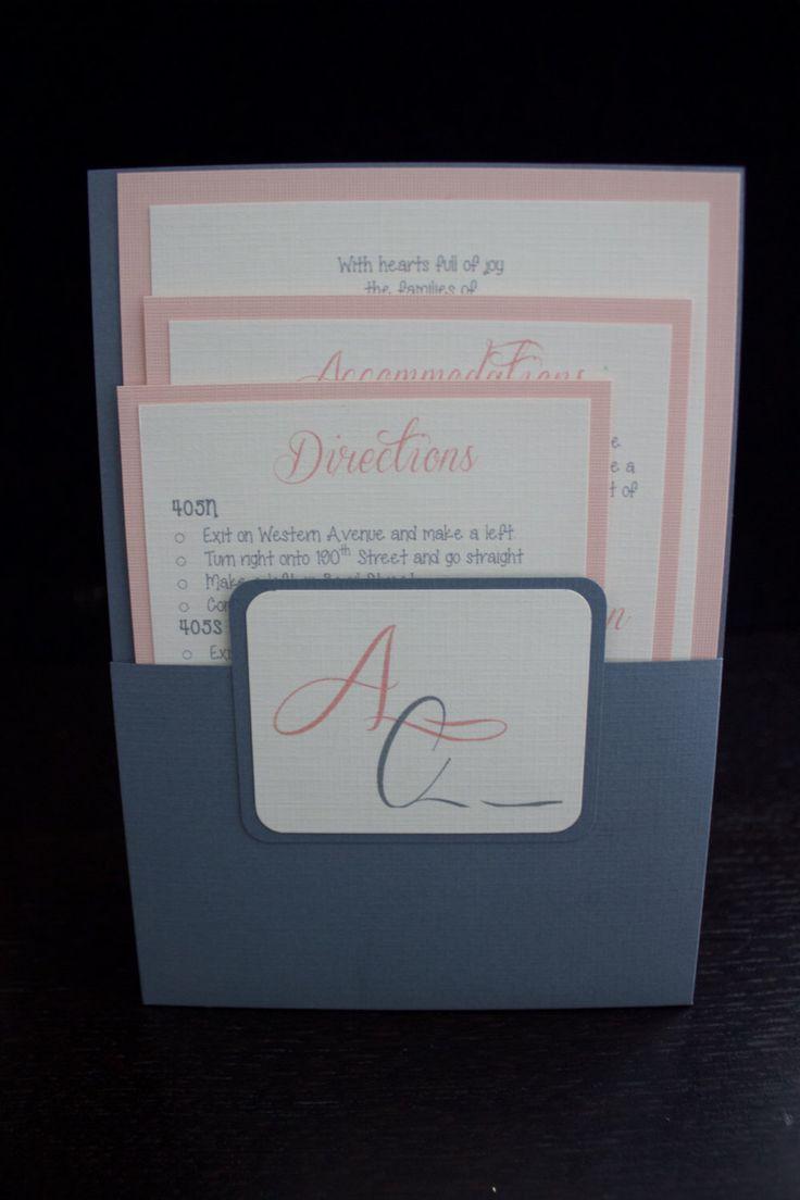 Grey & Blush Wedding Invitation Suite- Pocket Folder! by MadeForYouDesignss on Etsy https://www.etsy.com/listing/236951477/grey-blush-wedding-invitation-suite