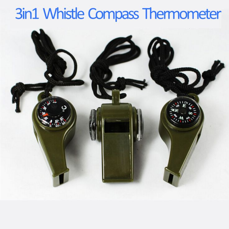 1 PC Baru merek hitam Peluit Kompas 3 in1 Kelangsungan Hidup Camping Thermometer baru