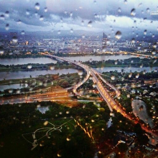 #vienna #wien #urban #view  #city #town #rain #window #raindrops #evening
