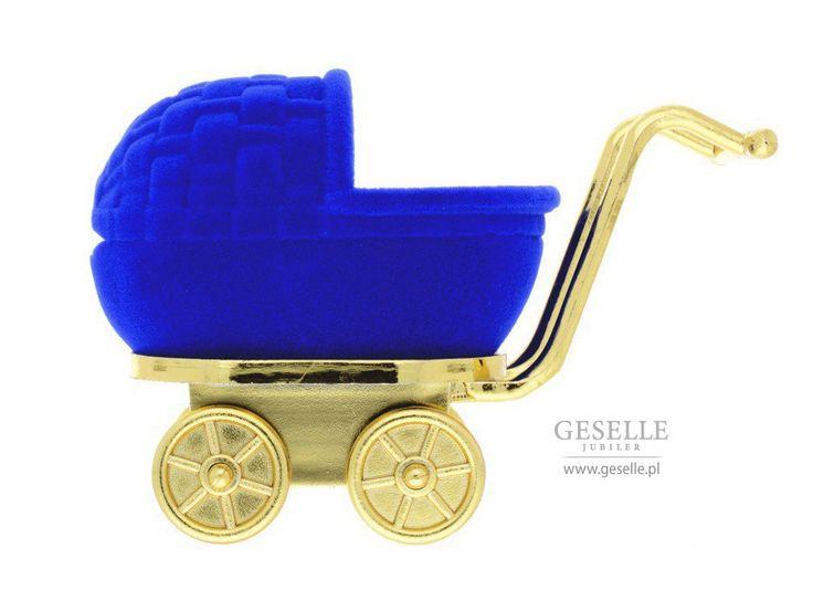 Niebieskie pudełko w kształcie wózka - wyjątkowe opakowanie na pierścionek, kolczyki lub zawieszkę idealne na prezent | NA PREZENT \ Opakowania na biżuterię od GESELLE Jubiler