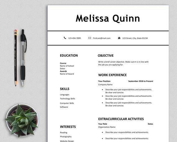 Student Resume Template Word Simple Modern Clean Easy One Page Resume Cv Template First Job Digital Download Pdf Teenagers Melissa Student Resume Template Student Resume Resume Template Word