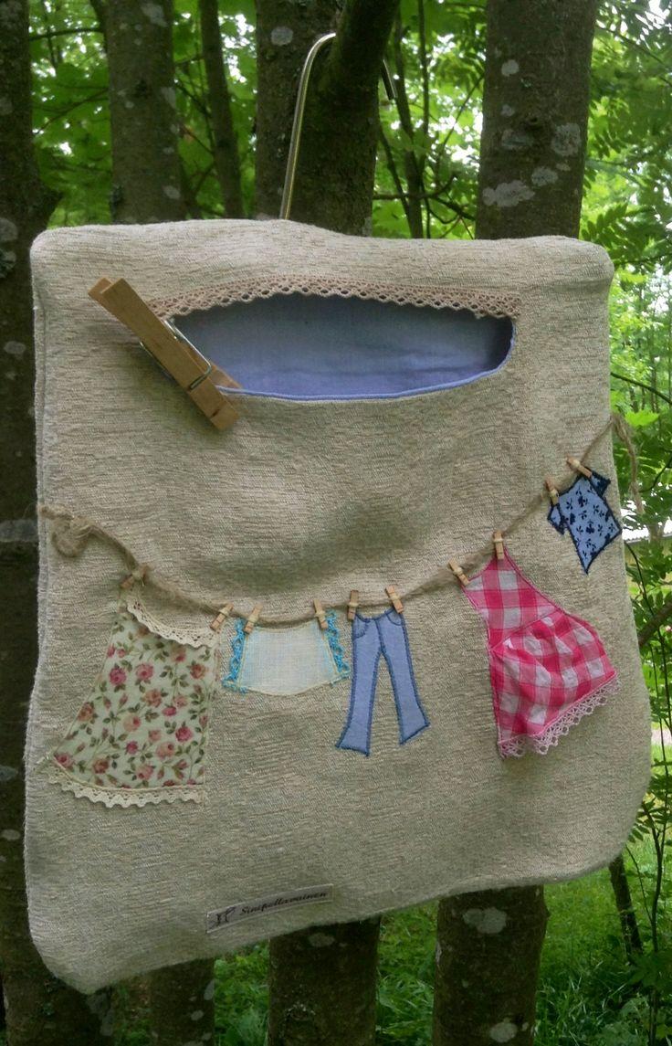 Pyykkipoikapussi Fdesign Sinipellavainen