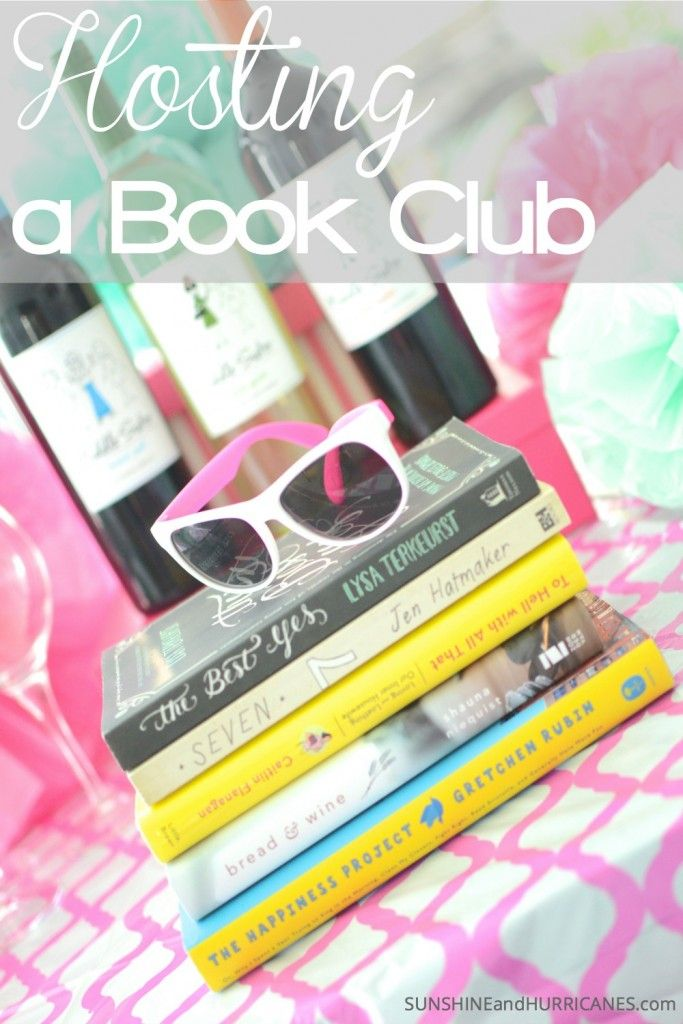Have you been wanting to start a book club? Looking for a cute theme for one of your get togethers? We've got fun ideas like a dessert and wine party, book suggestions, and even the how to for getting started. Hosting a Book Club - SunshineandHurricanes.com  #MiddleSister #DropsofWisdom