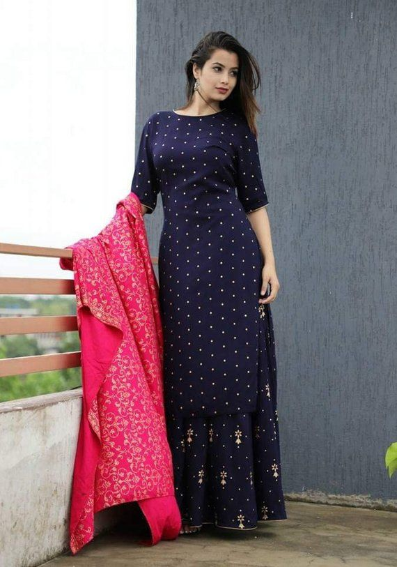 834b54550f Designer Long Maxi Dress Handcrafted Ethnic Wear Kurti with Skirt and Heavy  Embroidery Dupatta Set b