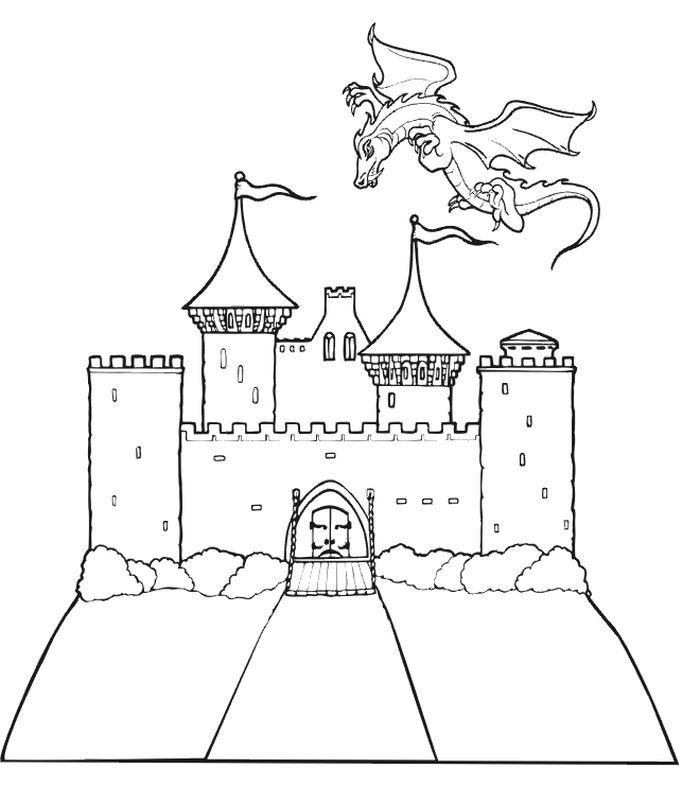 Castle Coloring Pages Printable In 2020 Dragon Coloring Page