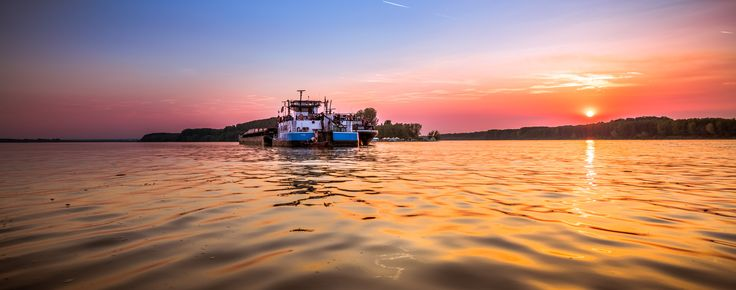 sunset on the Danube , photography , color, blue , red, yellow, orange, violet, cyan, green, maroon, purple, pink,