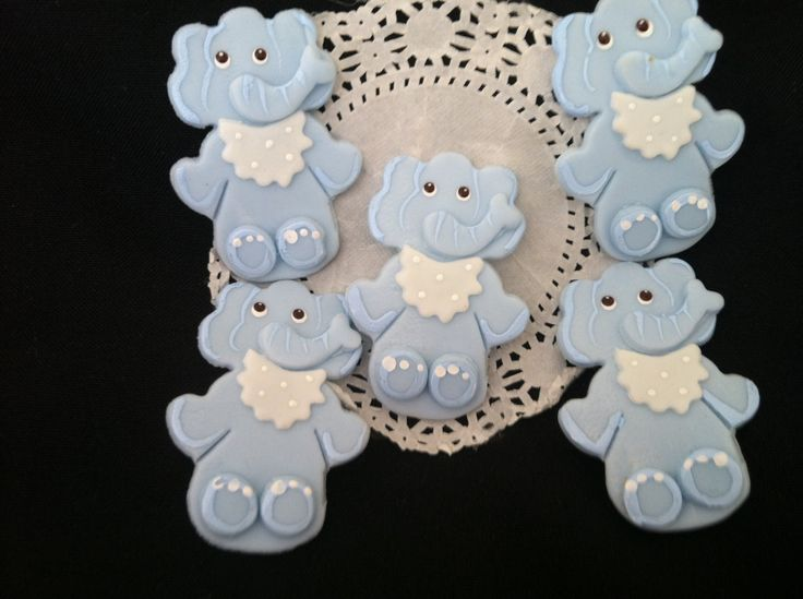 Baby Elephant Decorations, Blue Elephant Cupcake Toppers ...