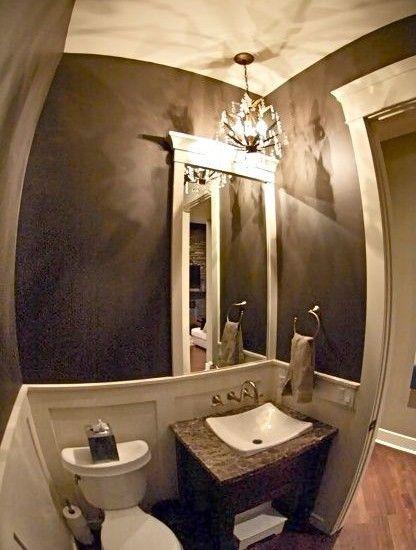 Quarter Bathroom Ideas : Powder room design install quarter round and paint two