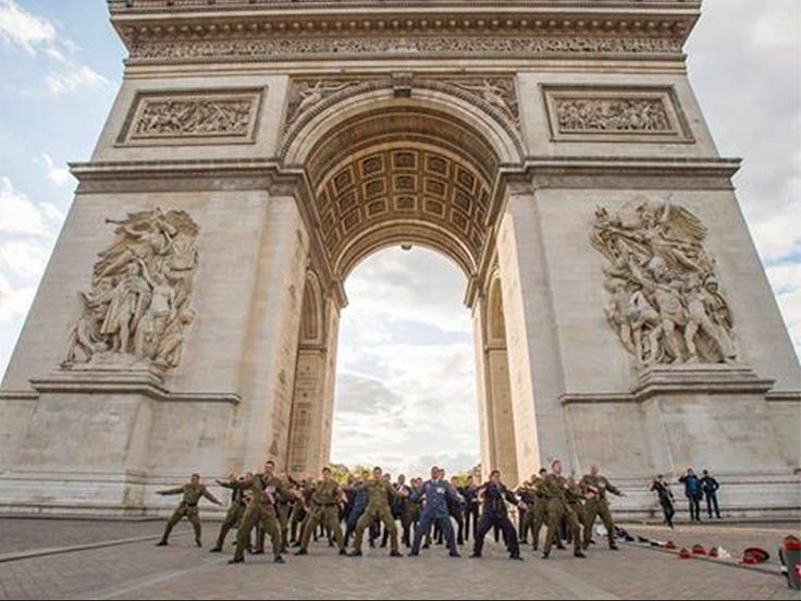 The NZDF contingents who commemorated Anzac Day on the Western Front honoured their military links to France tonight.  They participated in the lighting of the Eternal Flame ceremony at the Arc De Triomphe and performed a haka at the Tomb of the Unknown Soldier who lies underneath the Arc.