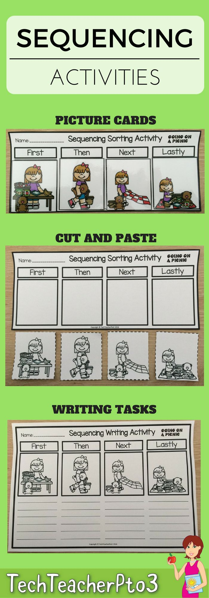 Learning to sequence familiar objects and events is a foundation skill for mathematics and a writing strategy for narratives. In this pack you will find 3 useful activities for practicing sequencing. These activities work wonderfully in math rotations or literacy centers.