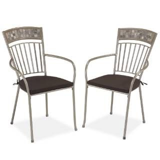 Check out the Home Styles 5607-802 Glen Rock Outdoor Dining Chair with Cushions in Gray/Marble