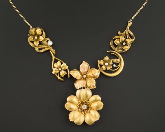Art Nouveau Gold Flower Necklace 10k And 14k Gold Statement Etsy Unique Statement Necklace Dark Jewelry Conversion Jewelry