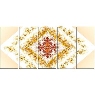 DesignArt Yellow Rhombus Fractal Design' Graphic Art Print Multi-Piece Image on Canvas