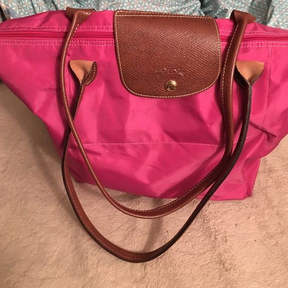 Pink long champ bag Great condition only used a few times. Has nice long straps. Longchamp Bags Totes