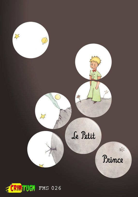 Le Petit Prince Little Prince Badge or Fridge Magnet Set