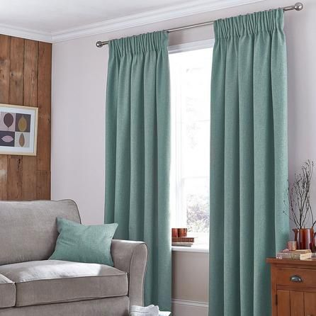 Dunelm Harris Thermal Pencil Pleat Curtains in Duck Egg Green (117cm x 182cm)