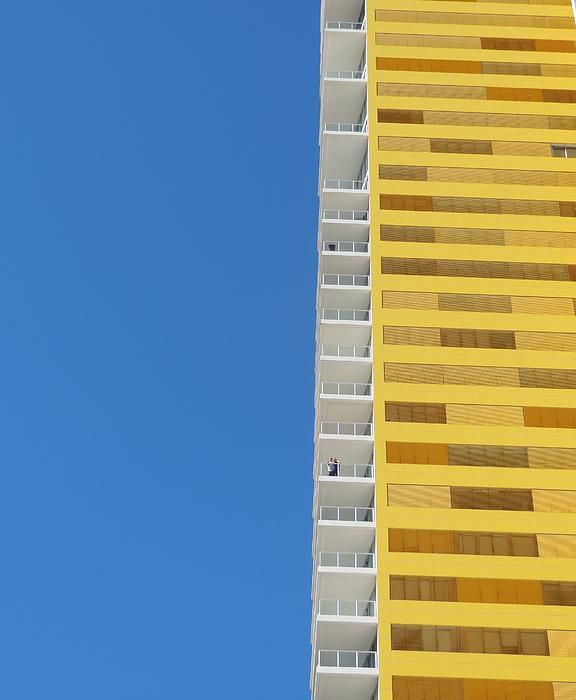 BEACH SKYSCRAPER ABSTRACT.   Photograph by Denise Clark
