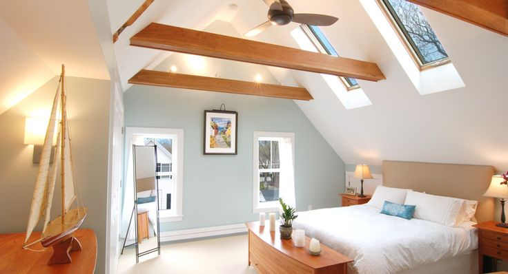 casing the original support beams and leaving the entire ceiling – Attic Master Bedroom
