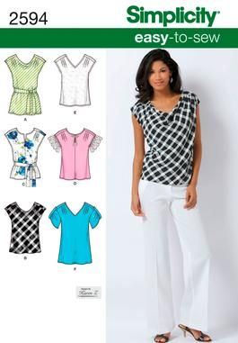 Simplicity 2594 - easy-to-sew tops. These look perfect for work!