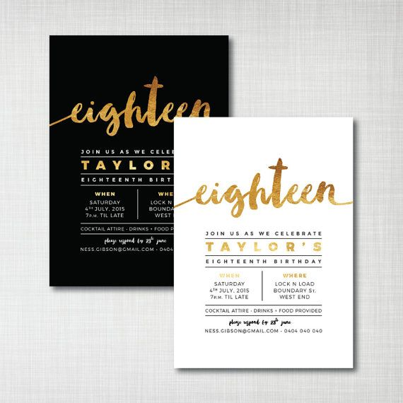 Another invite design idea we could imitate! Modern Gold Foil 18th birthday printable digital by cartamodello