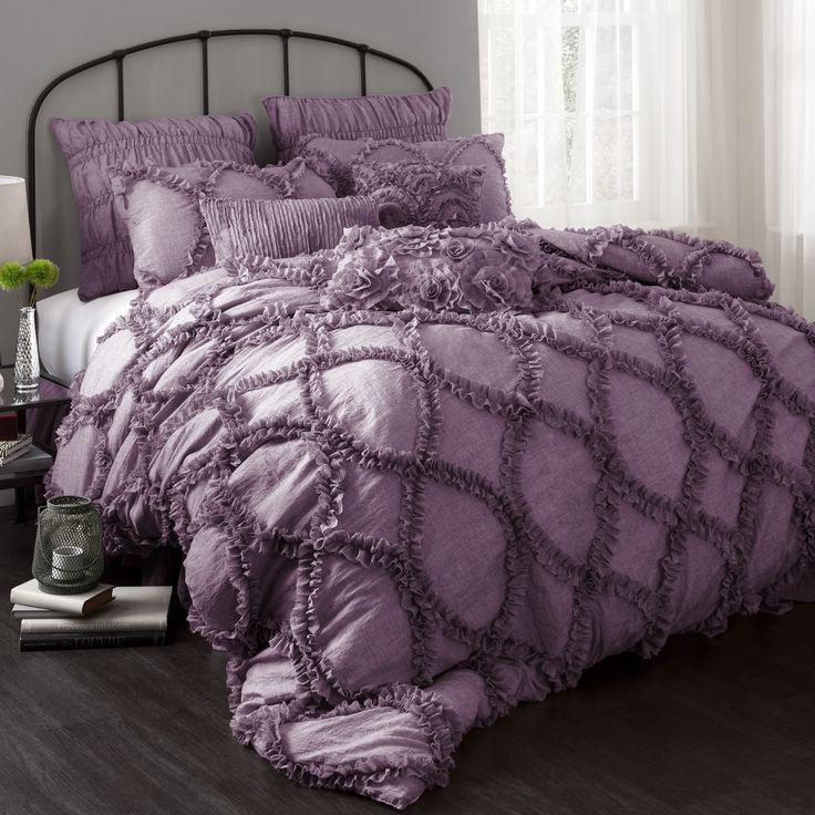 Purple Ruffle Ribbon Embroidered Comforter Set - Purple Bedroom Ideas