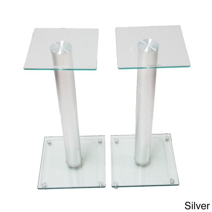 Mount-It! Premium Aluminum and Glass Speaker Stands for Home Theater Satellite Speakers and for Bookshelf Speakers #BS-58