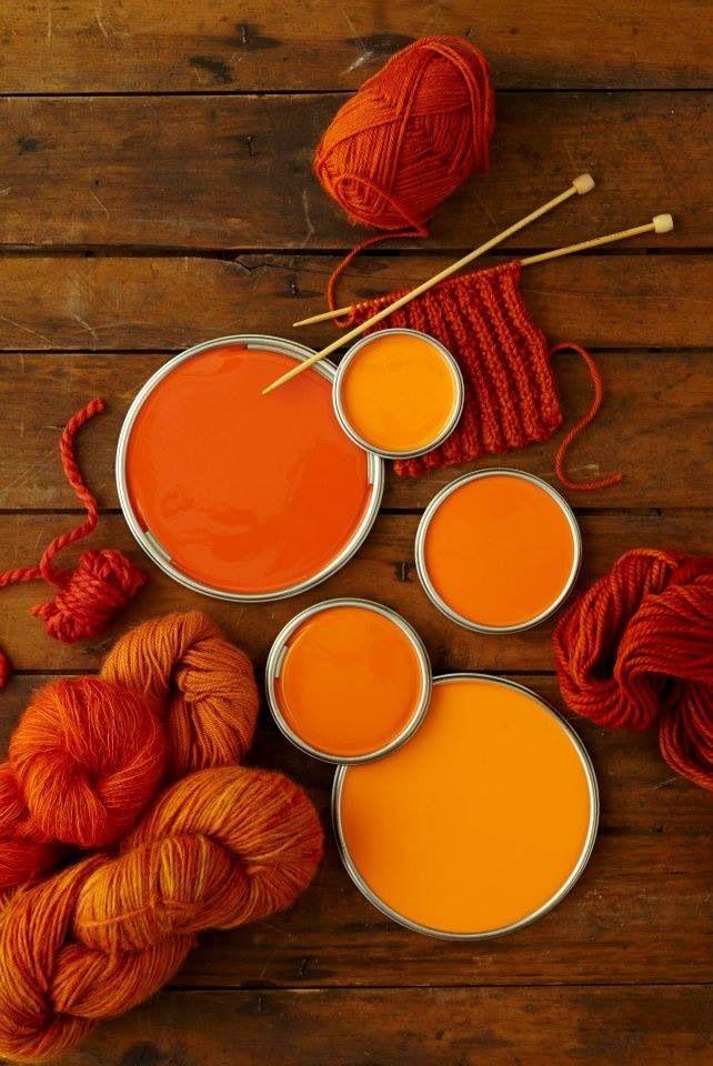 Orange paint & wool. I like the burnt orange w/ my blue for the kitchen.