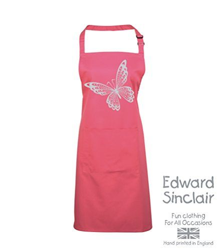 BUTTERFLY DESIGN' ' Fuchsia Apron with Silver Sparkling Glitter print Edward Sinclair http://www.amazon.co.uk/dp/B00UAY5FO2/ref=cm_sw_r_pi_dp_XVSgvb1WP6S5T