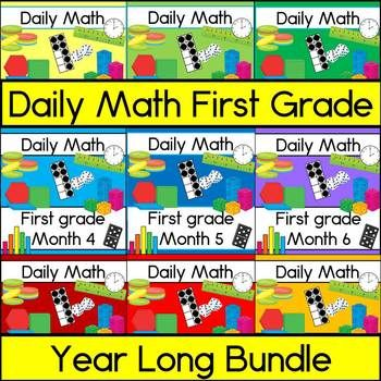 Perfect for morning work or math centers, this year long bundle of daily math resources will have your first graders engaged in reviewing many math skills! It includes 180 pages of spiraling math practice, designed for 180 days of first grade, with all instructions and answer