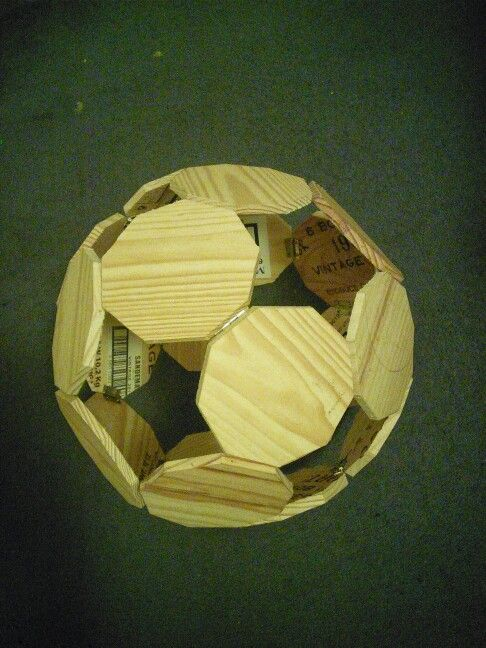 Nonagon ball made from recycled oak port cases