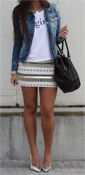 Zara Skirt - Bershka Jacket - Mango Bag