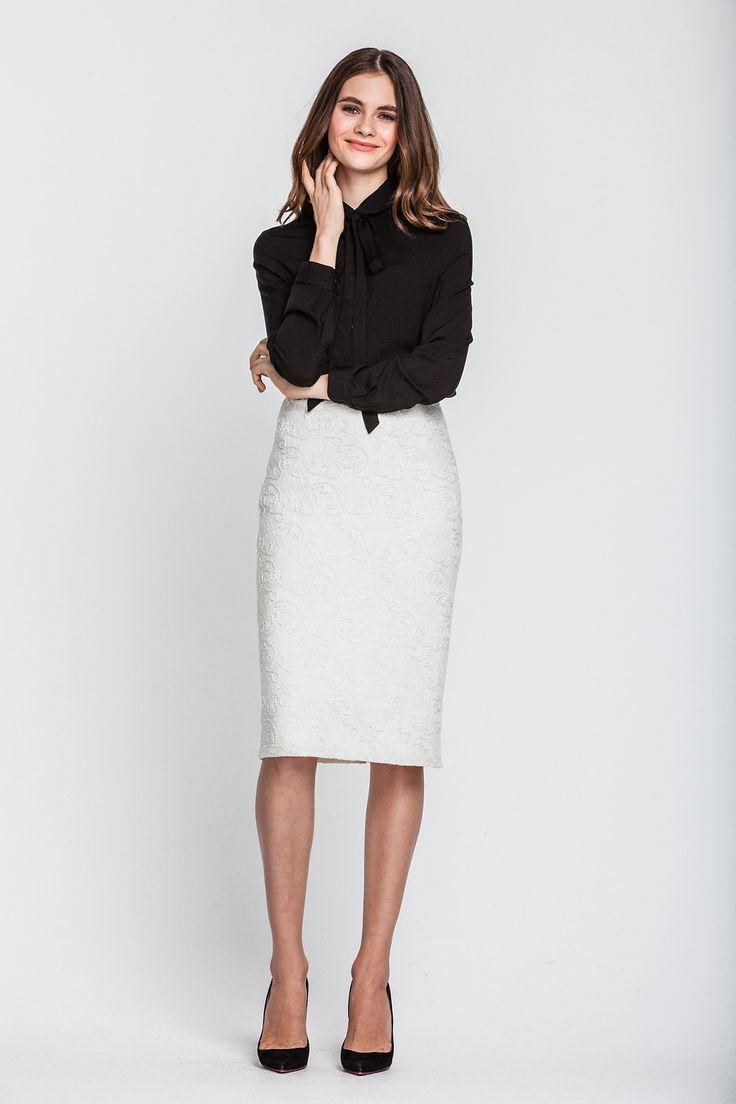 1991 Юбка-карандаш белая, шерсть купить в Украине, цена в каталоге интернет-магазина брендовой одежды Musthave