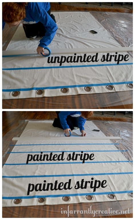 Painting your own curtain panels taping off stripes DIY with infarrently creative