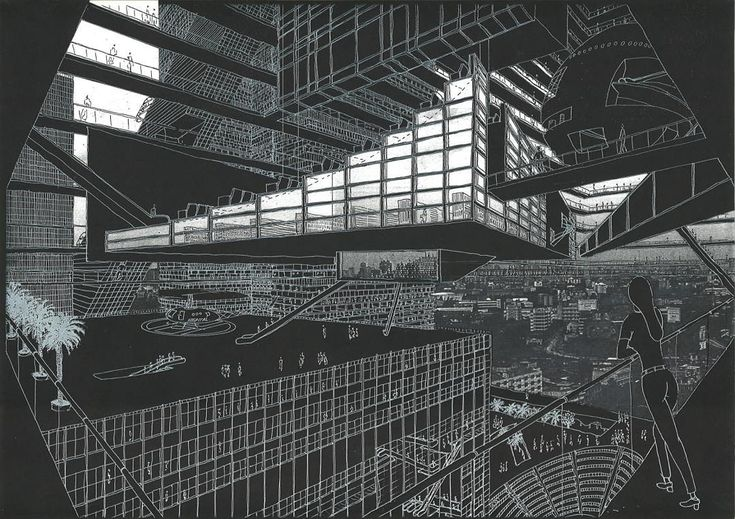 """""""(1/3) Found in the #omaarchive, Hyperbuilding, an exploration into the uncontrollable mass of high density buildings. """"Hyperbuilding grows by 'bending up'…"""""""