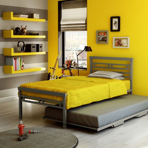 Oliver gray twin metal bed with trundle kid beds for Cheap metal twin bed frame