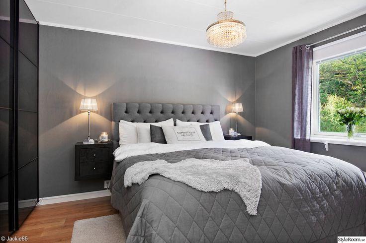 sovrum,grått,säng,sänggavel