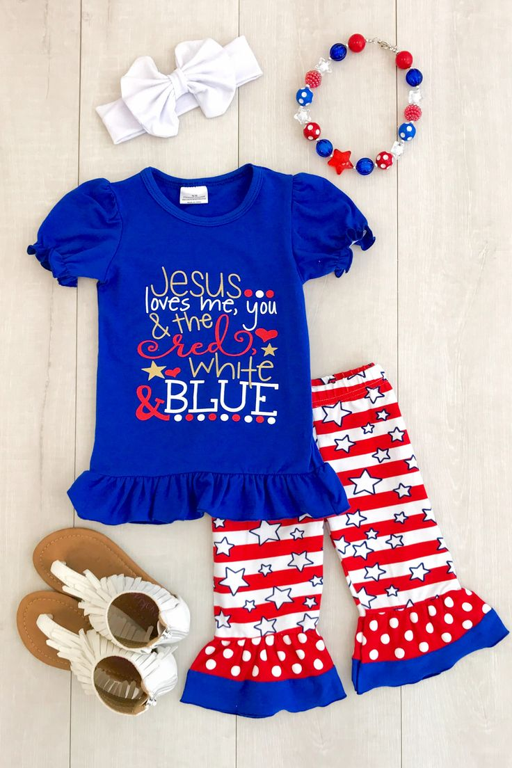 "Our star ruffle outfit is one of the most adorable outfits we have seen and a one of a kind!  ""Jesus Loves Me, You and the Red, White & Blue"" written on the front paired with matching ruffle capri pants.  This outfit is so trendy and perfect for summer or 4th of July event! Be the star of the show in this eye catching adorable star capri set!"