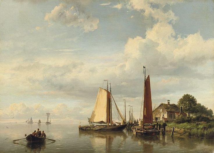 Hermanus Koekkoek - Aangemeerde zeilboten 1859