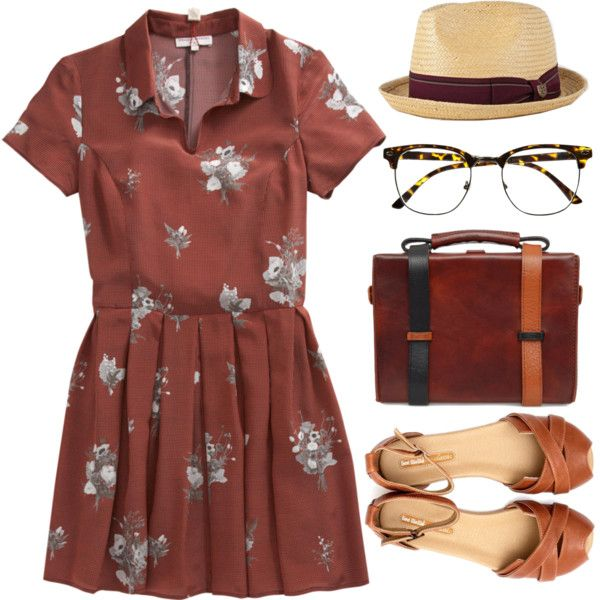 """Collared Floral Dress"" by emc1397 on Polyvore"
