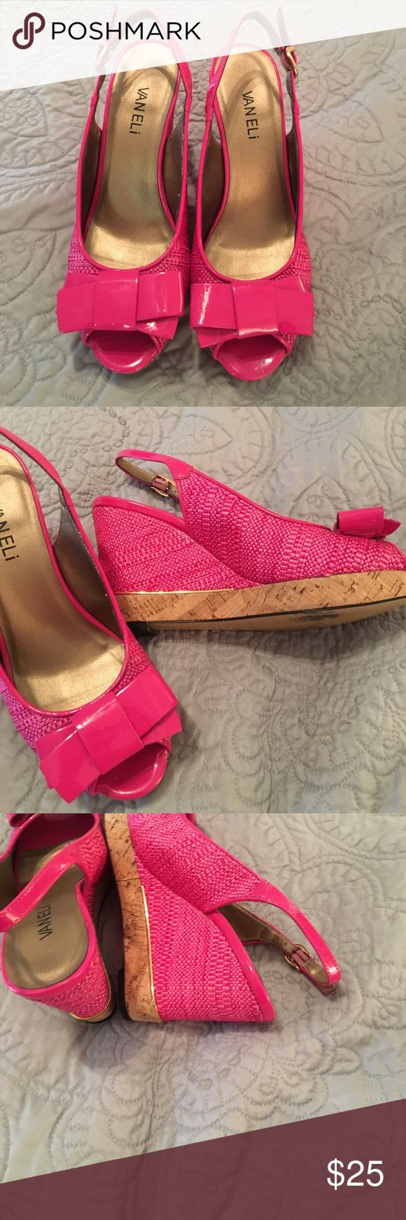 Hot pink wedge sandals Vaneli hot pink wedge sandals. Straw look with patent leather bow. Has gold trim. Very good condition. Really pretty color. Vaneli Shoes Platforms