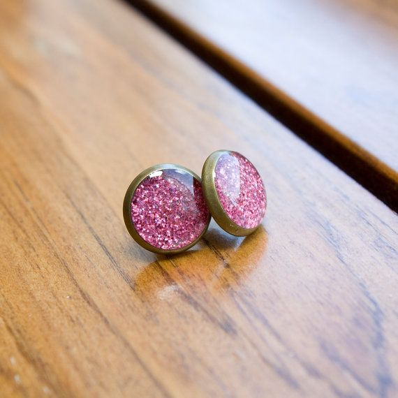 Sparkly Resin Filled Stud Earrings  Antiqued Bronze  by HowlOwl.