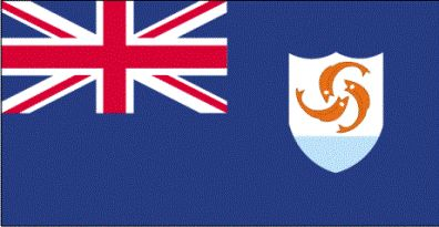 Antigua Flag Description:  Blue, with the flag of the UK in the upper hoist-side quadrant and the Anguillan coat of arms centered in the outer half of the flag; the coat of arms depicts three orange dolphins in an interlocking circular design on a white background with blue wavy water below