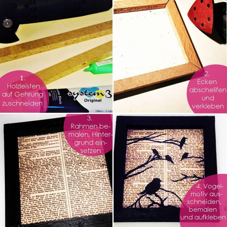 Bilderrahmen selber bauen aus Holzleisten: Die Holzleisten werden auf Gehrung zugeschnitten, die Holzkanten abgeschliffen, der Holz-Bilderrahmen mit Acrylfarbe bemalt und mit einem Bildmotiv beklebt
