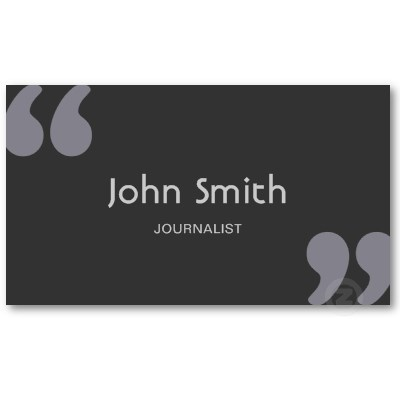 Simple Quotation Marks Journalist Business Card