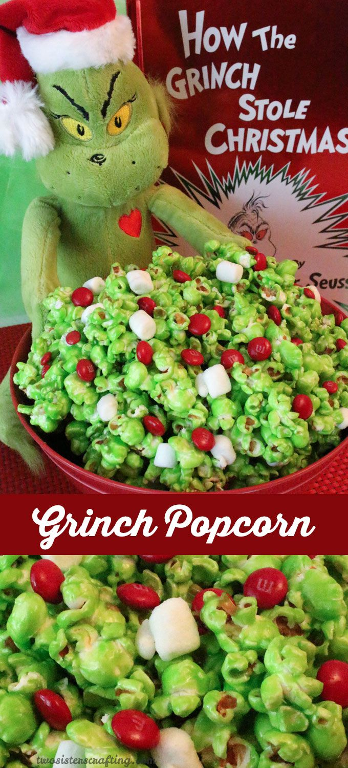Grinch Popcorn - a fun Christmas Treat. Sweet, salty, crunchy, delicious and so very easy to make. It would be a great How the Grinch Stole Christmas family movie night dessert or Christmas Party Dessert! Follow us for more fun Christmas Food ideas.: