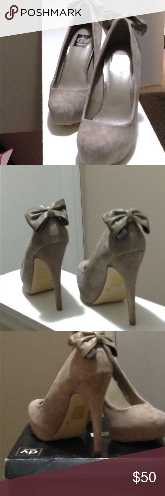 New suede pumps Taupe suede platform pumps never worn in original box Shoes Heels