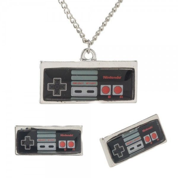 Classic Nintendo Controller Necklace Earrings Jewelry Set NES Officially License #Bioworld
