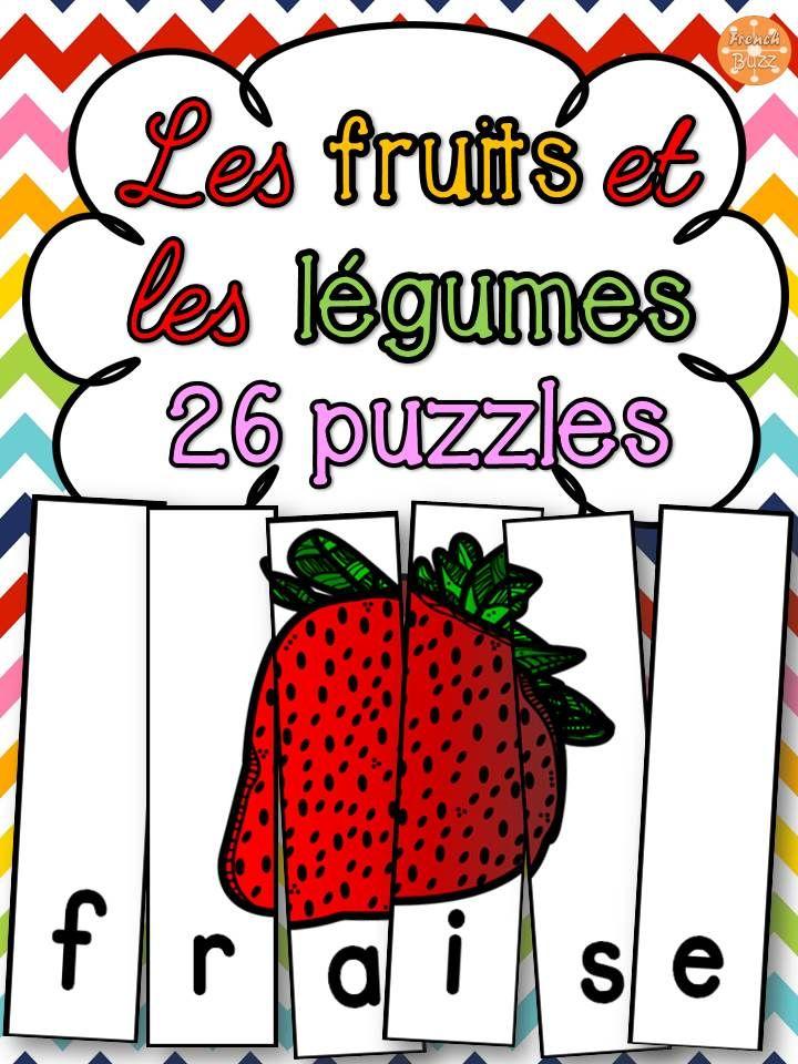 Les fruits et légumes - 26 puzzles sur le vocabulaire. Exemples de mots inclus: pomme, banane, haricots, brocoli etc. Ce jeu de casse-tête est amusant et parfait pour les centres de littératie !