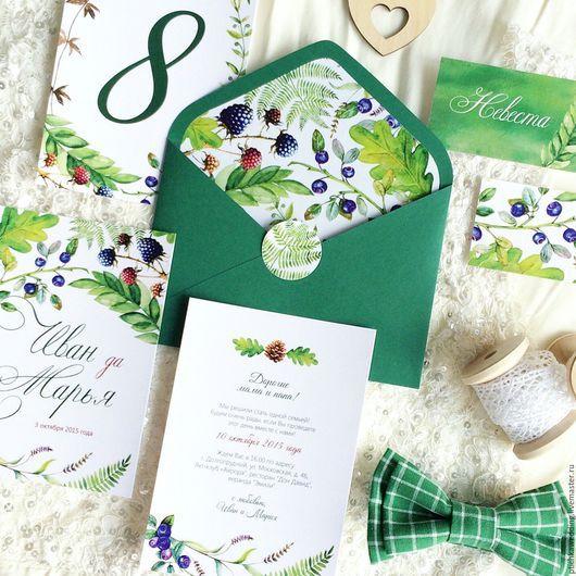 Свадебные аксессуары ручной работы. Ярмарка Мастеров - ручная работа. Купить Акварельные свадебные зеленые приглашения Лесная сказка, стиль ботаник. Handmade.